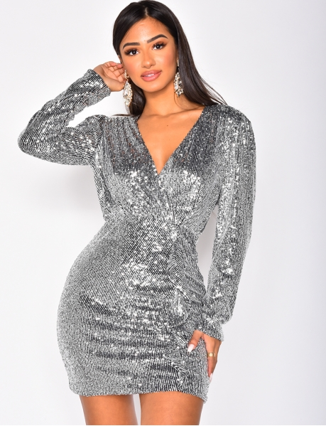 Long Sleeved Sequin Dress with Ruffles