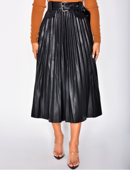 PU Leather Pleated Skirt with Belt