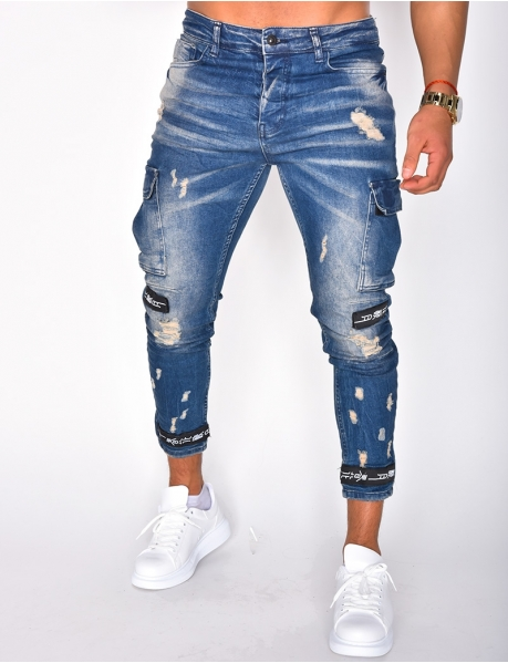 Faded Ripped Cargo Jeans
