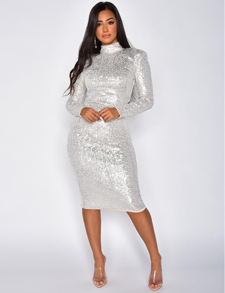 Long Sleeved High Neck Sequin Dress