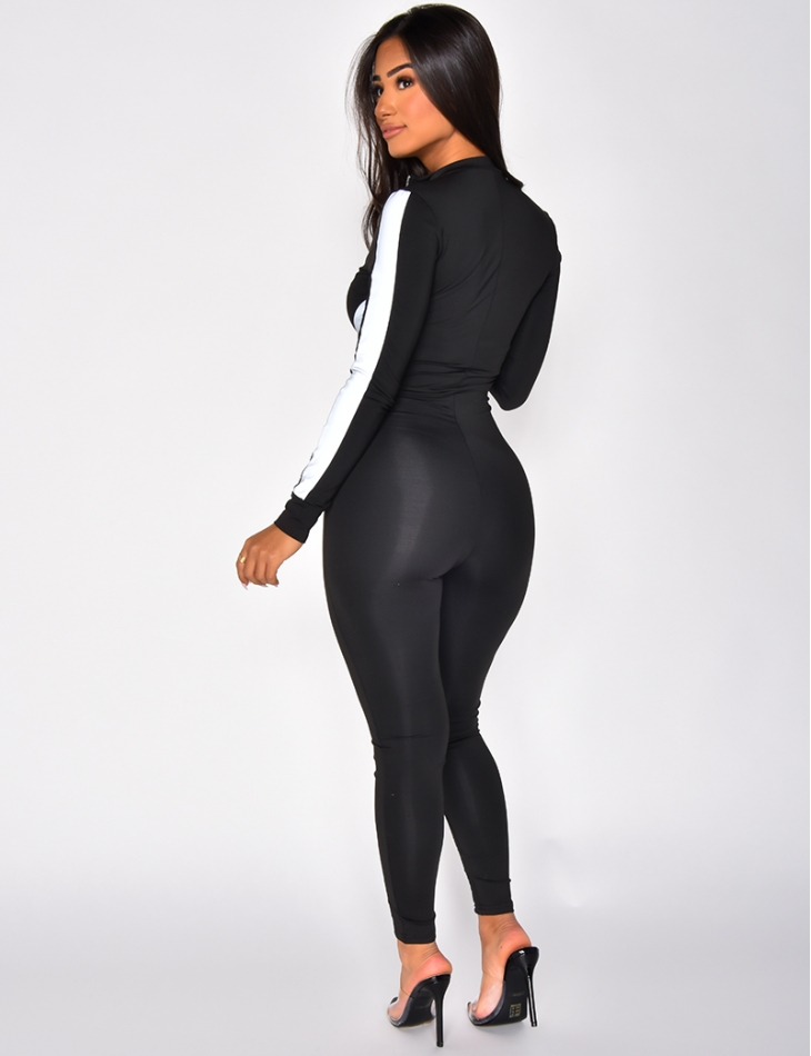 Bodycon Jumpsuit with Reflective Bands