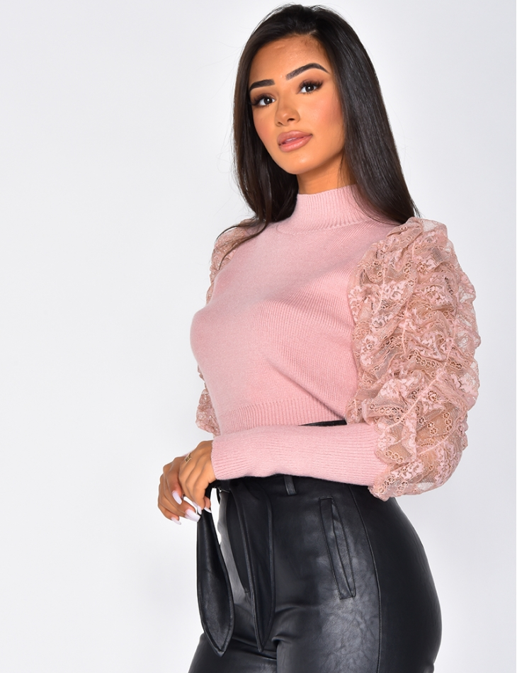 Ribbed Jumper with Lace Sleeves
