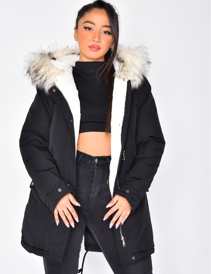 Parka with Pockets and White Fur