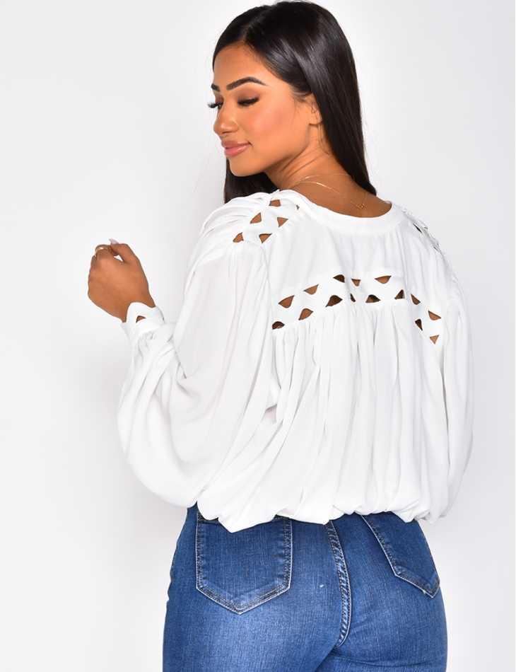 Blouse with Puff Sleeves & Lace