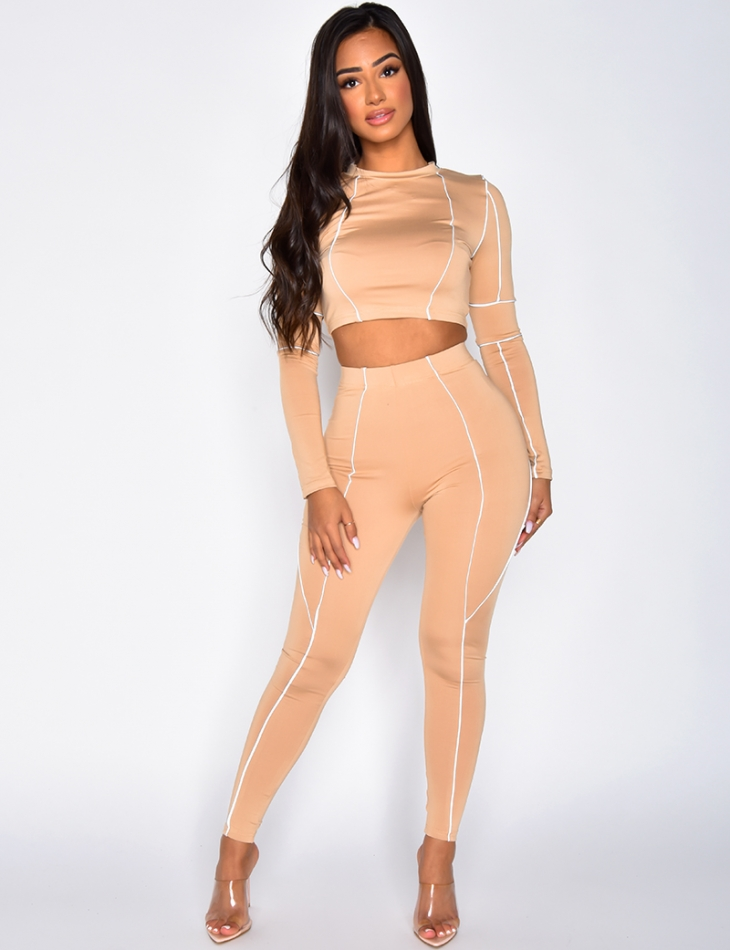 Crop Top and Trousers Co-ord with Reflective Stripes