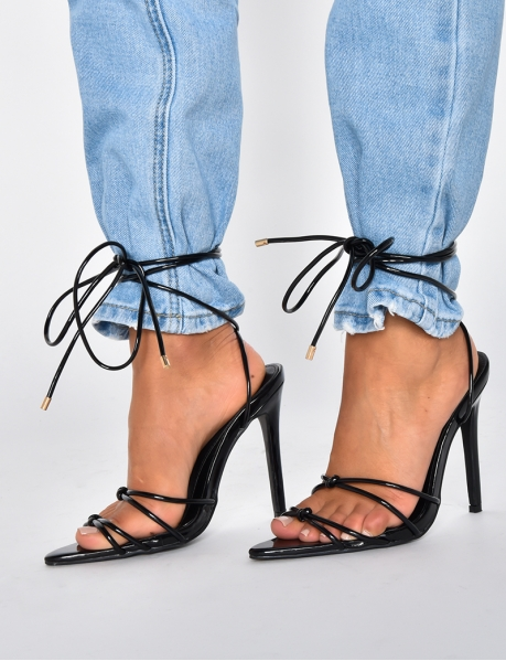 Heeled Sandals with Laces