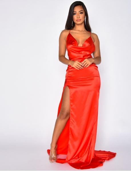 Long Satin Slit Dress