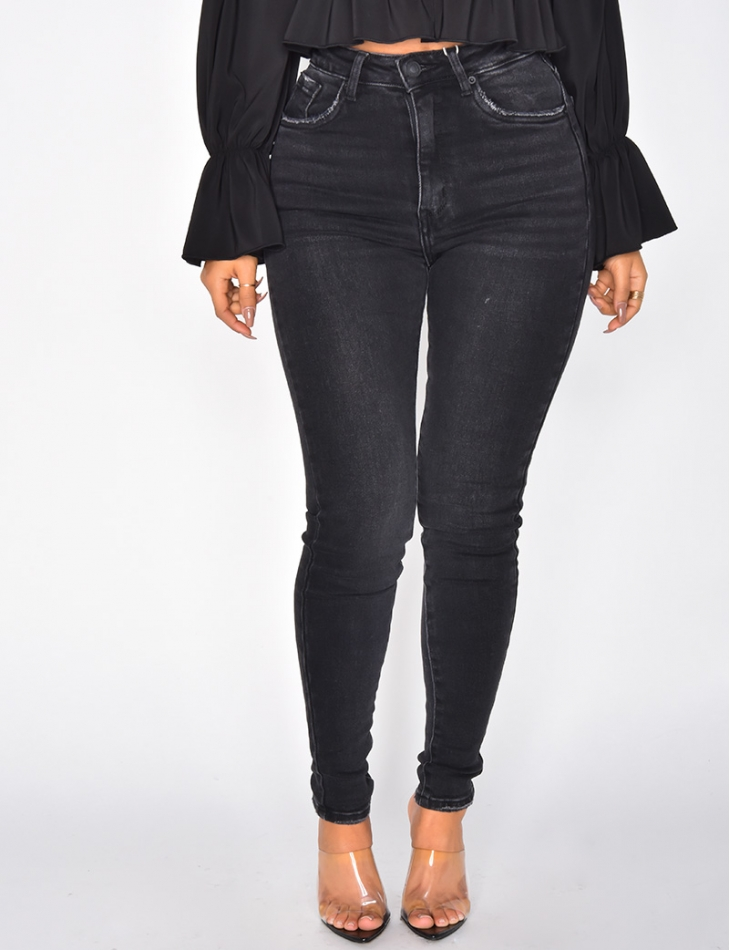 80s Style High Waisted Faded Black Jeans