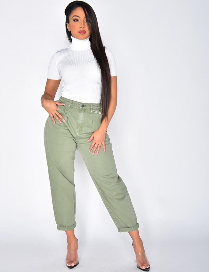 Jeans slouchy kaki délavé