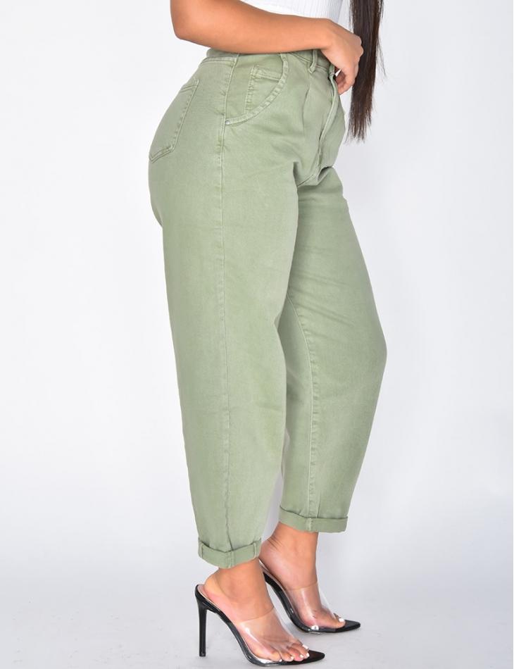 Faded Khaki Slouchy Jeans