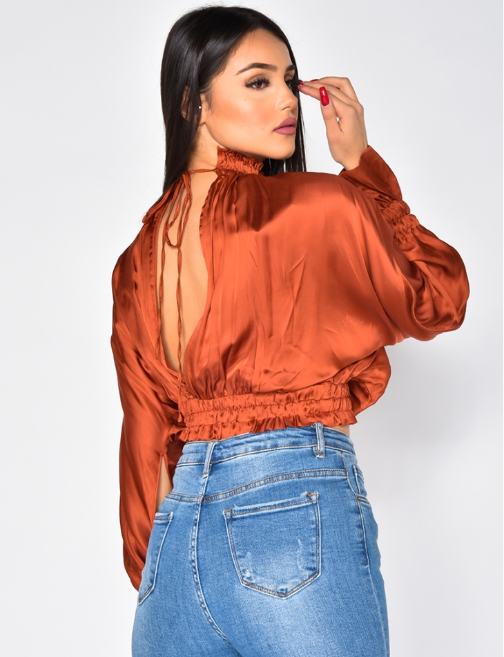 Loose Fit Satin Cut Out Blouse