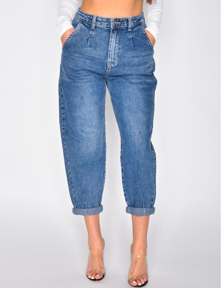 Jeans slouchy bleu délavé