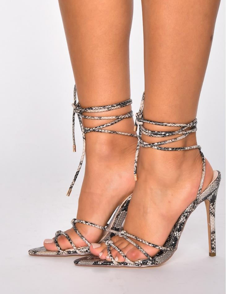 Sandales à talons lacets snake Jeans Industry