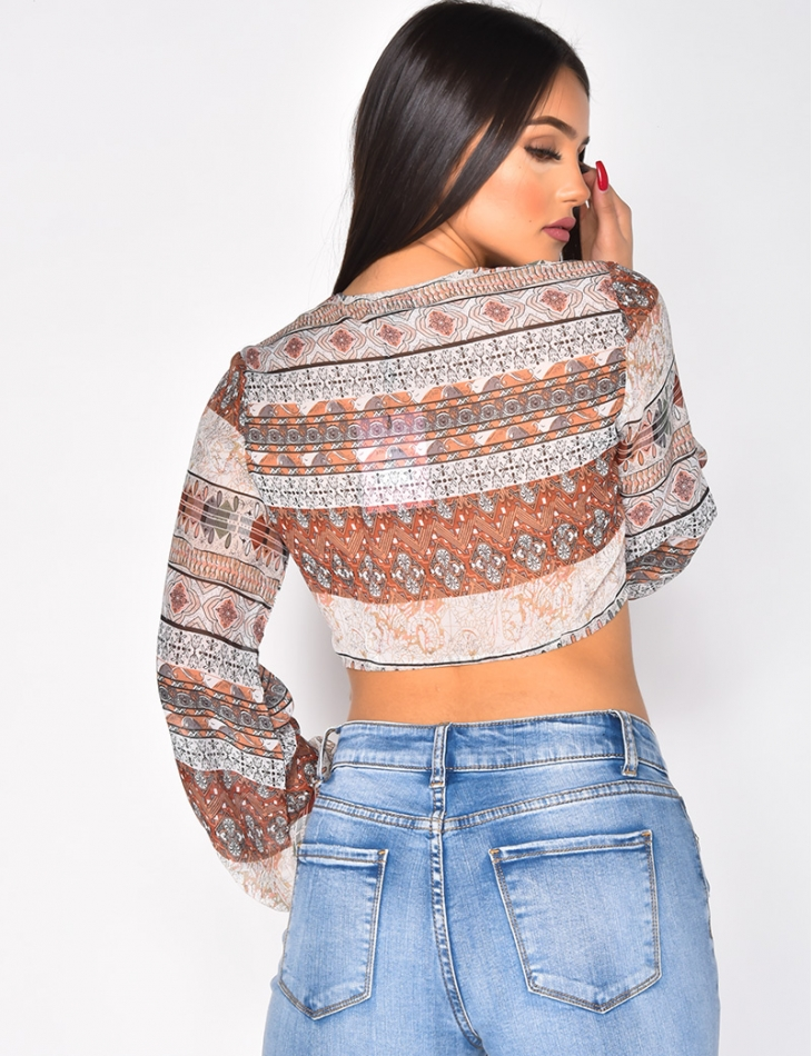 Transparent Tie Crop Top with Western Pattern