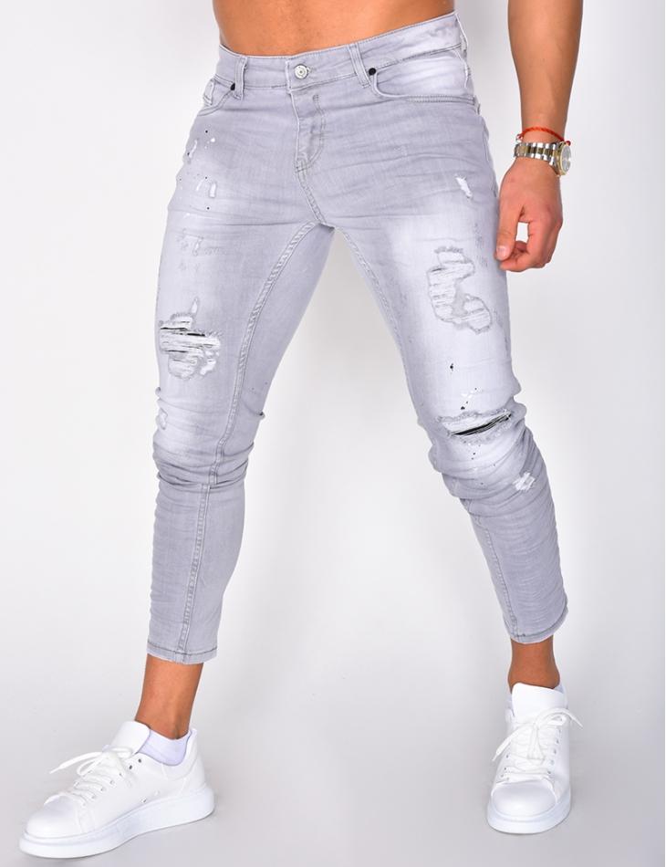 Skinny Jeans with Paint Flecks