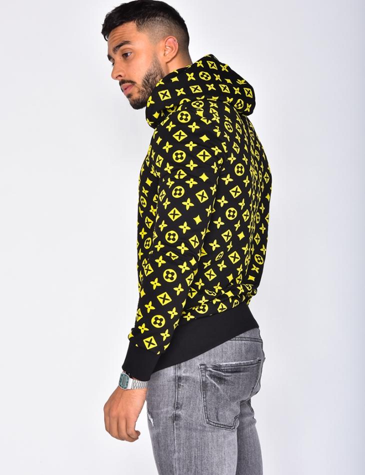 Sweatshirt with Hood and Pattern