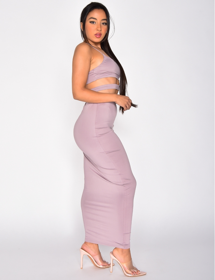 Openwork Crop Top and Long Skirt Co-ord