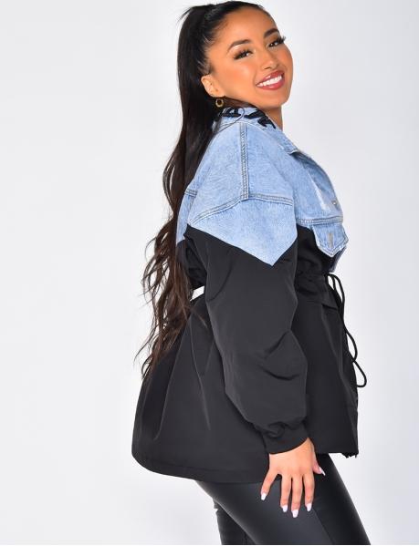 Bi Material Parka Jacket & Jeans