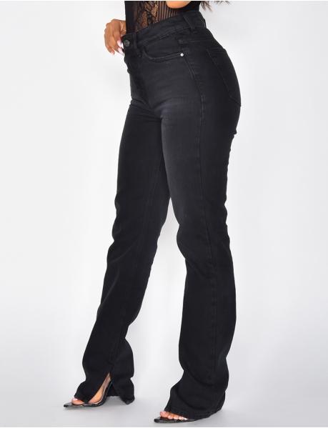 Jeans taille haute noir à fentes