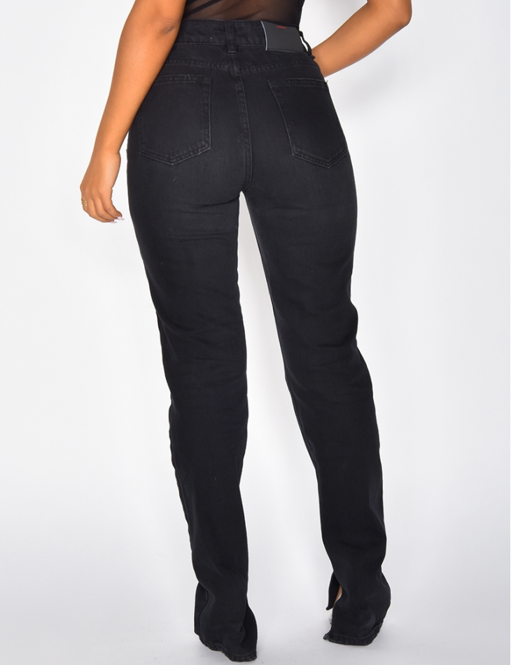 High Waisted Black Jeans with Slits