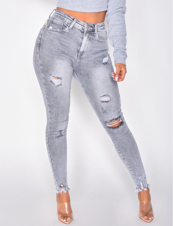 Jeans gris délavé destroy
