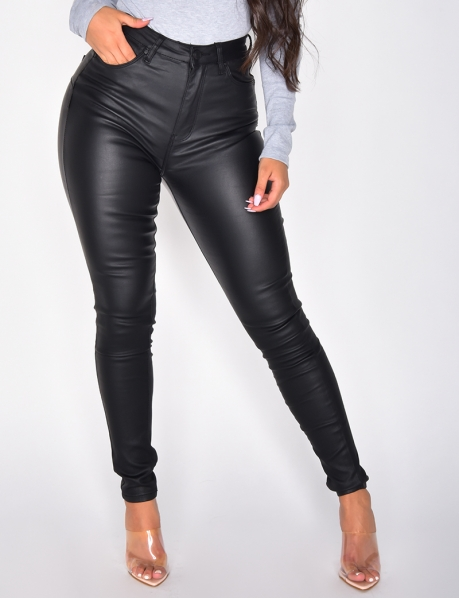 High Waisted Faux Leather Jeans