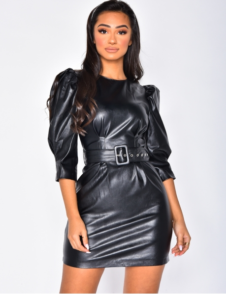 PU Leather Dress with Belt