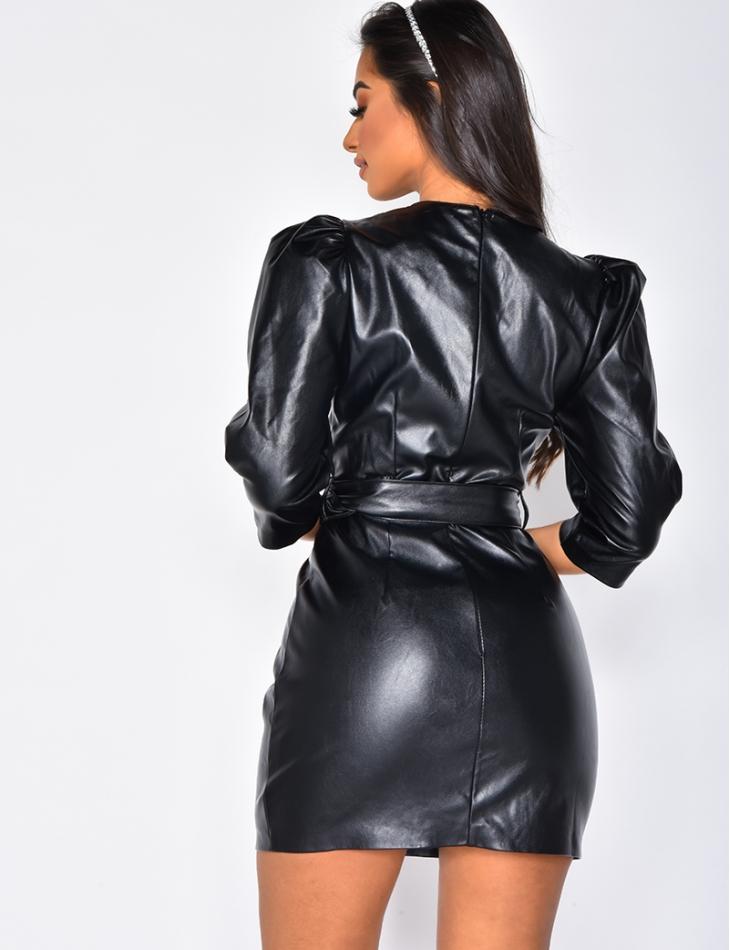 PU Leather Dress with Belt