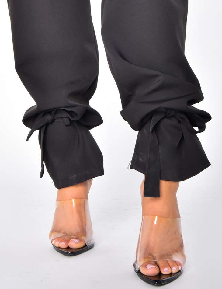 High Waisted Trousers with Ties around the Ankles
