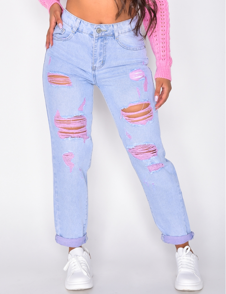 Ripped Boyfriend Jeans with Pink Rips