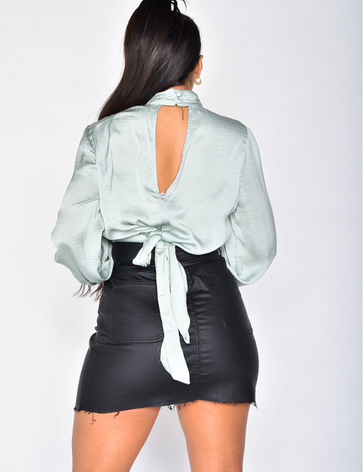 Satin Top with Tie at the Back