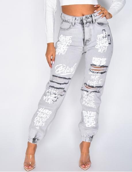 Jeans destroy à graffiti