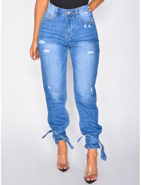 Jeans taille haute à noeuds aux chevilles