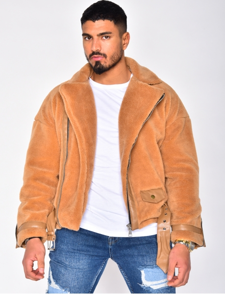 Sheepskin Look Biker Jacket
