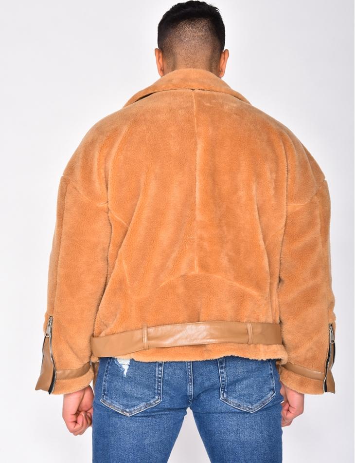 Sheepskin Look Biker Jacket