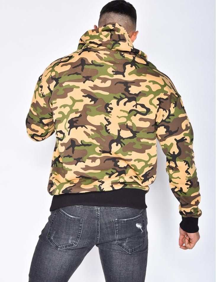 Camouflage Sweatshirt with Hood