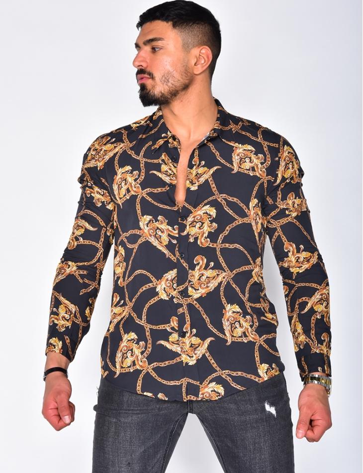 Chemise manches longue à motifs