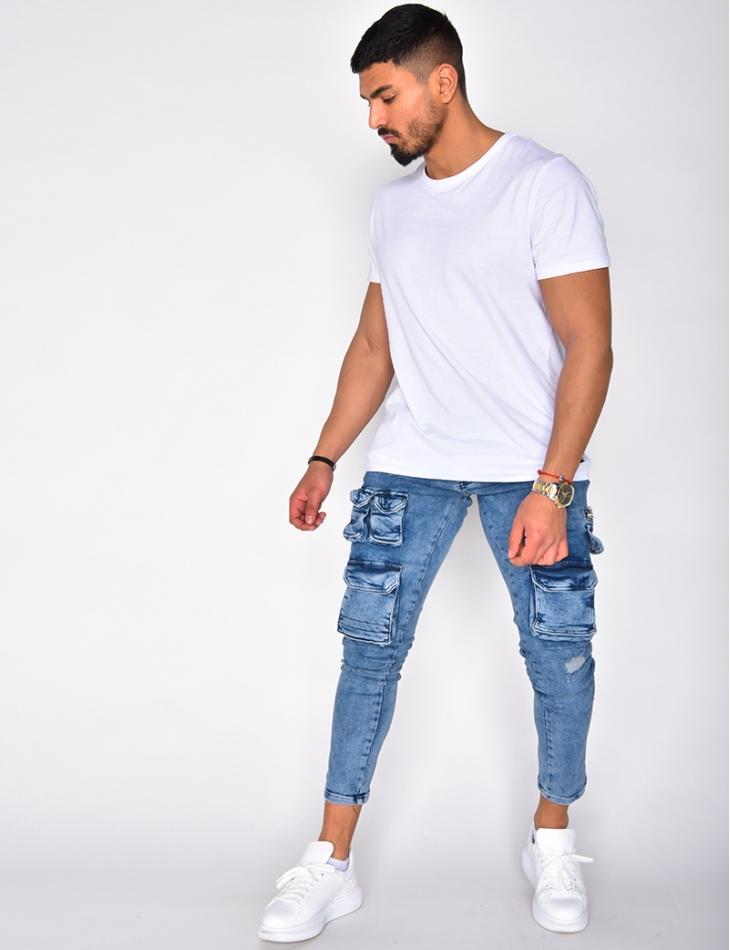 Jeans délavé destroy à poches