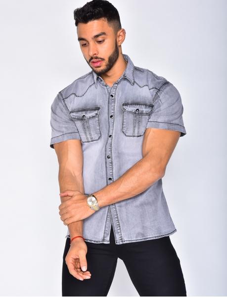 Chemise en jeans manches courtes