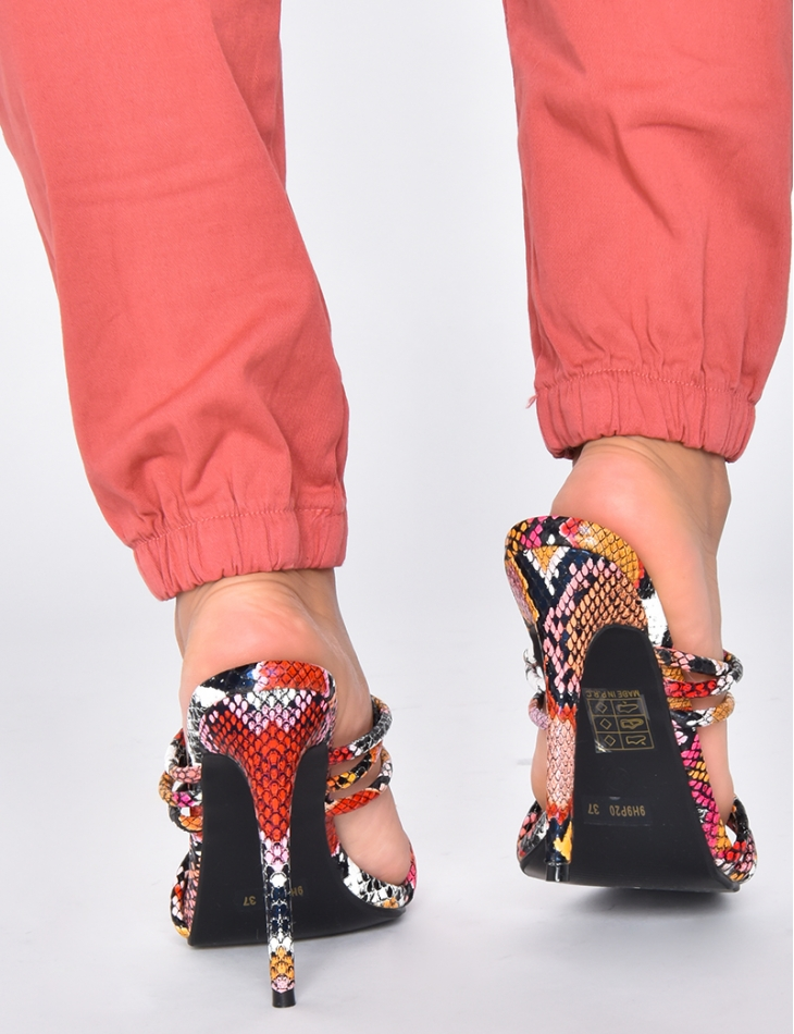Barely There Heeled Sandals with Snakeskin Print