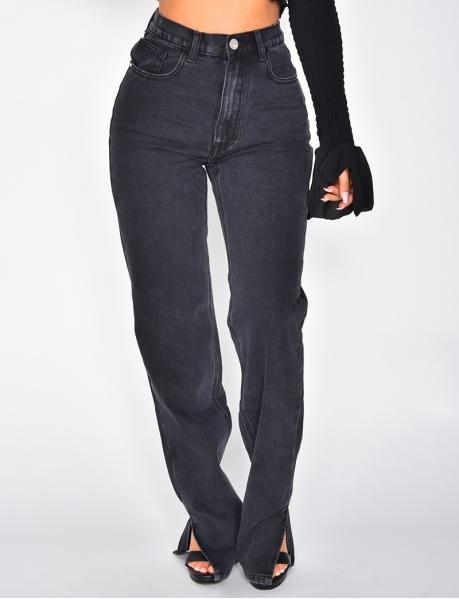 Jeans mit hoher Taille, gerade geschnitten, mit Schlitzen