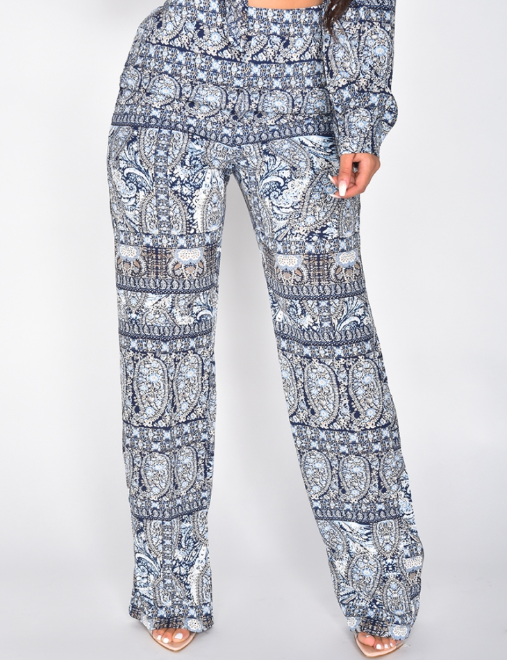Loose Fit Trousers with Pattern