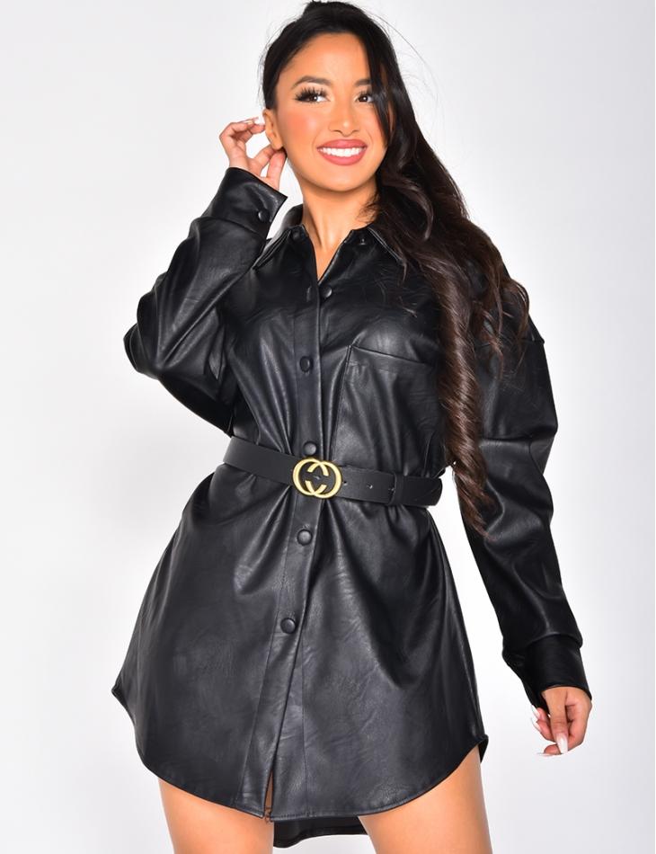 Robe chemise en cuir