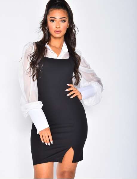 Preppy Style Shirt Dress with Integrated Voile