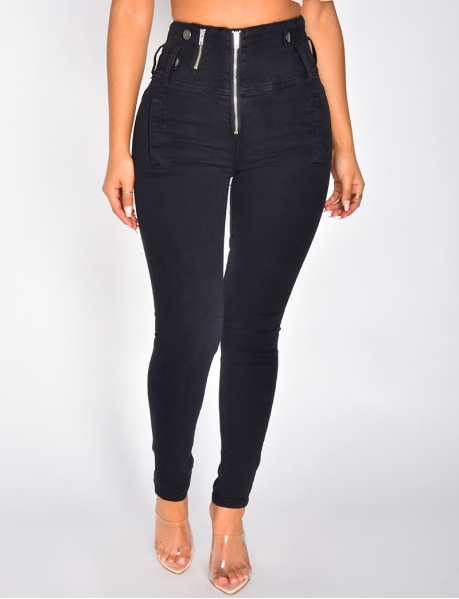 High Waisted Skinny Jeans with Zip