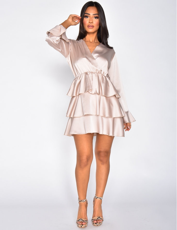 Satiny Dress with Ruffles