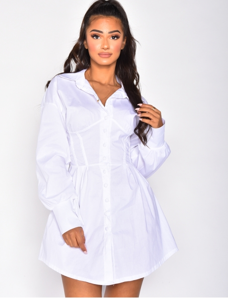 Corset Style Shirt Dress with Buttons