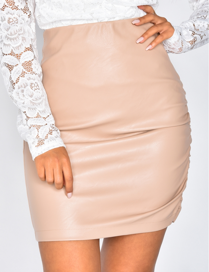 Faux Leather Gathered Skirt