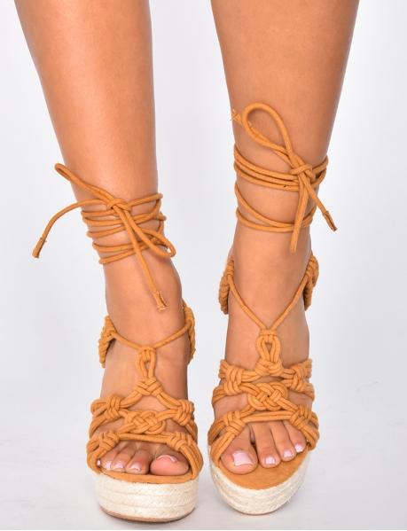 Tie Up Wedge Sandals