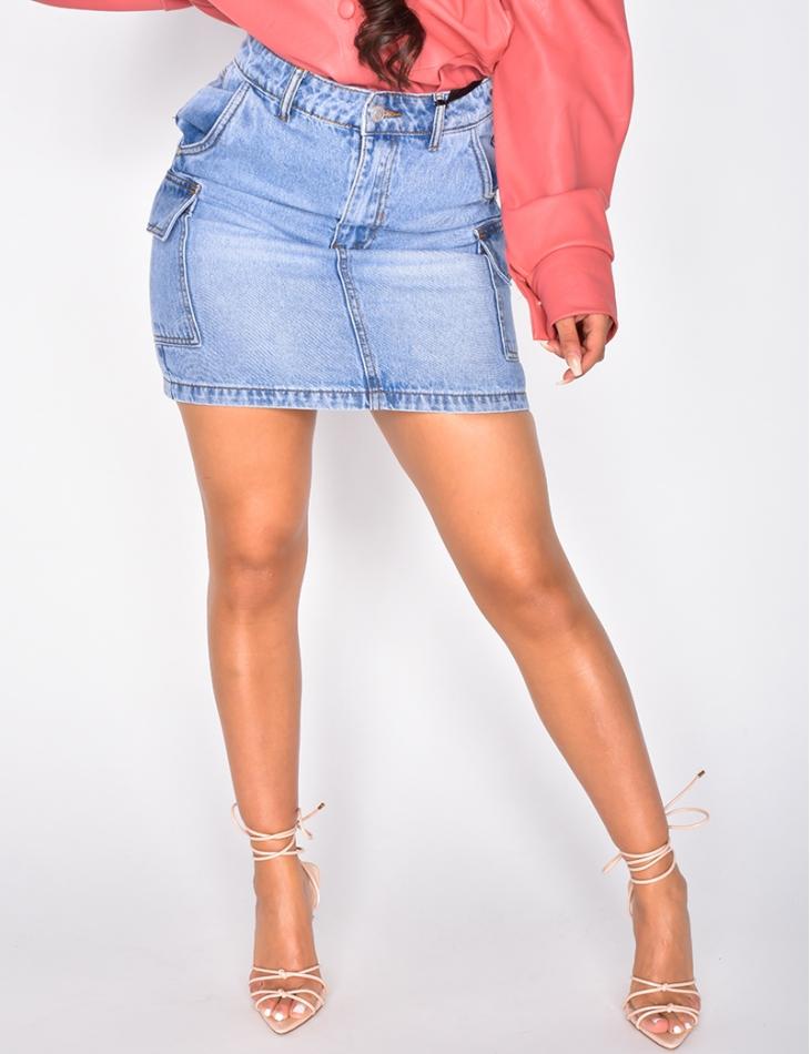 Jupe en jeans à poches